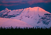 Alpenglow on mountain in Denali National Park, Alaska