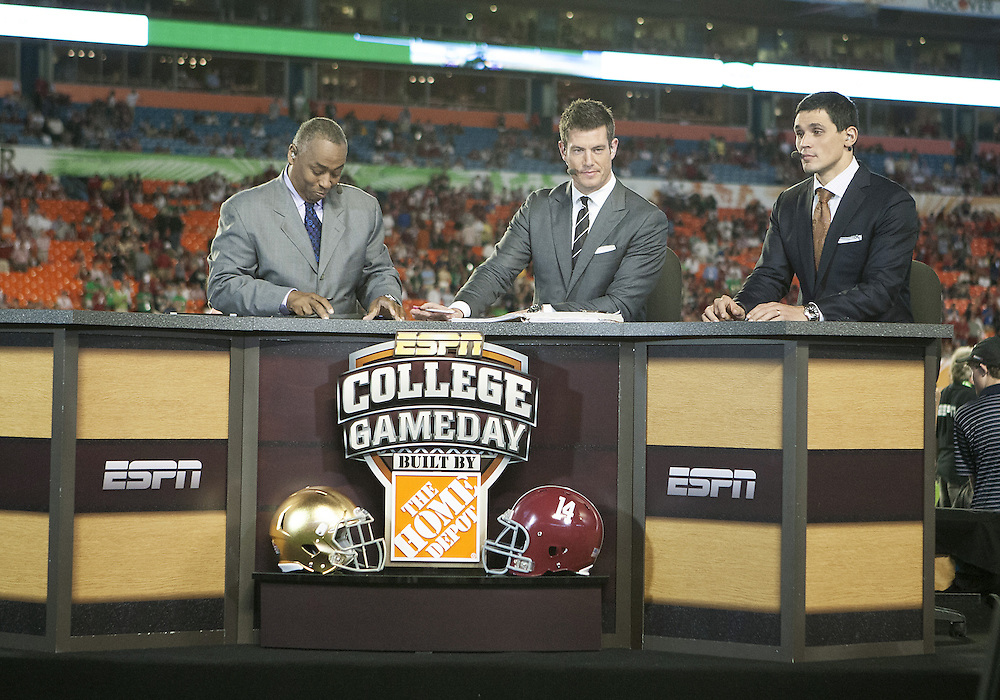 January 7, 2013:  ESPN College Gameday during the Discover BCS National Championship between the Alabama Crimson Tide and the Notre Dame Fighting Irish at Sun Life Stadium in Miami Gardens, Florida.  Alabama defeated Notre Dame 42-14.