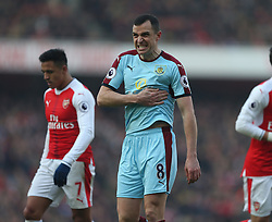 22 January 2017 London : Premier League Football : Arsenal v Burnley :<br /> Dean Marney of Burnley reacts after being hit by the ball from close range.<br /> Photo: Mark Leech