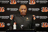 Cincinnati Bengals head coach Marvin Lewis answers a question after an NFL football game against the Houston Texans Saturday, Dec. 24, 2016, in Houston. The Texans won 12-10. (AP Photo/Sam Craft)