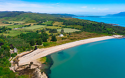 Aerial view from drone of Saddell Bay in Kintyre peninsula, Argyll and Bute, Scotland, Uk