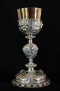 Chalice given by Jean-Jacques Olier to the monastery after the death of St Agnes of Jesus, probably in 1637, in the Monastere Sainte Catherine de Sienne, or Monastery of St Catherine of Siena, founded 1623 by St Agnes of Jesus, or St Agnes of Langeac, 1602-34, in Langeac, Haute Loire, France. Picture by Manuel Cohen