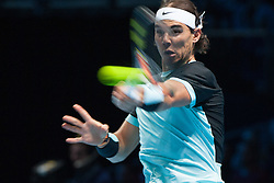 21-11-2015 GBR: ATP Tennis Tour Finals day 7, London<br /> Rafael Nadal (ESP) [5] in action in his match against Novak Djokovic (SRB) [1]. Djokovic won the match 6-3, 6-3.<br /> <br /> ***NETHERLANDS ONLY***