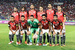 October 8, 2017 - Alexandria, Egypt - (L-R) Egypt's Mohamed Abdel-Shafy, Tarek Hamed, Essam El-Hadary, Mohamed Salah, Saleh Gomaa, Ahmed Fathy, Mohamed Elneny, Hassan Ahmed, Ramadan Sobhi, Ahmed Hegazi, Mohamed Abdel-Shafy pose for a team picture during their World Cup 2018 Africa qualifying match between Egypt and Congo at the Borg el-Arab stadium in Alexandria on October 8, 2017. (Credit Image: © Islam Safwat/NurPhoto via ZUMA Press)