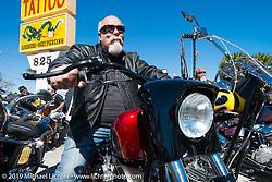 Dave Perewitz at Willie's Tropical Tattoo annual Old School Bike Show during Daytona Bike Week. FL, USA. March 13, 2014.  Photography ©2014 Michael Lichter.
