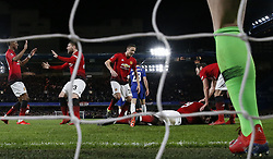 BRITAIN-LONDON-FOOTBALL-FA CUP-CHELSEA VS MAN UNITED.(190218) -- LONDON, Feb. 18, 2019  Manchester United's players celebrate after Paul Pogba's goal during the FA Cup fifth round match between Chelsea and Manchester United in London, Britain on Feb. 18, 2019. Manchester United won 2-0. FOR EDITORIAL USE ONLY. NOT FOR SALE FOR MARKETING OR ADVERTISING CAMPAIGNS. NO USE WITH UNAUTHORIZED AUDIO, VIDEO, DATA, FIXTURE LISTS, CLUB/LEAGUE LOGOS OR ''LIVE'' SERVICES. ONLINE IN-MATCH USE LIMITED TO 45 IMAGES, NO VIDEO EMULATION. NO USE IN BETTING, GAMES OR SINGLE CLUB/LEAGUE/PLAYER PUBLICATIONS. (Credit Image: © Xinhua via ZUMA Wire)