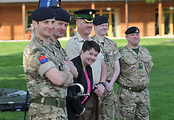Pictured: Ruth meets some of the gun crew from 105th regiment Royal Artillery before firing the gun to start the event.<br /> <br /> Scottish Conservatives leader Ruth Davidson get's the ball rolling on the soldiers charity golf event by firing the 105th Regiment's gun at Duddingston Golf Course.<br /> <br /> © Dave Johnston/ EEm