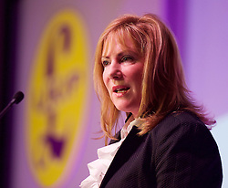 UKIP 2015 Spring Conference at the Winter Gardens Margate, Great Britain <br /> 28th February 2015 <br /> <br /> <br /> Janice Atkinson MEP<br /> PPC for Folkestone & Hythe<br /> Women: Not pink but red, white & blue. <br /> <br /> <br /> <br /> Photograph by Elliott Franks <br /> Image licensed to Elliott Franks Photography Services
