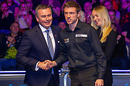 The 19.com Runner up Jack Lisowski is presented with his runners up Prize by  Katie Oldfield Event director of World Snooker & Jason Ferguson WPBSA Chairman at the 19.com  World Snooker Scottish Open Final Mark Selby vs Jack Lisowski at the Emirates Arena, Glasgow, Scotland on 15 December 2019.