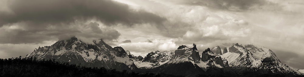 Overcast, sunset view of Torres del Paine National Park, Tyndall, Chile.