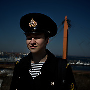 ODESSA, UKRAINE - March 13, 2014: Bosig Evgeniy, a 19 year old navy cadet, enjoys the warm sunny weather near the majestic Odessa steps, the place where in 1925 Sergei Eisenstein filmed one of the most celebrated scenes in his masterpiece, 'Battleship Potemkin'. In the past weeks, tensions between pro and anti Russia movements have been raising in Odessa, over the ongoing crisis in the neighbour province of Crimea. CREDIT: Paulo Nunes dos Santos