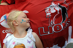 10/03/2018 Jealeine Venter (4) from Pretoria  in front of a Lions flag. Gauteng Lions vs the Auckland Blues at Emirates Airlines Park, Ellis Park, Johannesburg, South Africa. Picture: Karen Sandison/African News Agency (ANA)