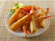 Oriental selection with bread coated and battered prawns with a chilli  dipping sauce