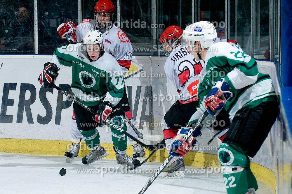 Andraz Andric of HK Olimpija during ice-hockey match between HK Olimpija and HK Jesenice Mladi in SLOHOKEJ league, on Januar 8, 2011 at Hala Tivoli, Ljubljana, Slovenia. (Photo By Matic Klansek Velej / Sportida.com)