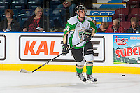 KELOWNA, CANADA - NOVEMBER 12: Austin Glover #15 of the Prince Albert Raiders warms up against the Kelowna Rockets on November 12, 2016 at Prospera Place in Kelowna, British Columbia, Canada.  (Photo by Marissa Baecker/Shoot the Breeze)  *** Local Caption ***