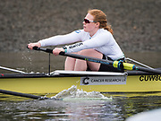 London. UNITED KINGDOM.   Tideway Week. THE CANCER RESEARCH UK BOAT RACES. 163rd Mens Boat Race and The 72nd Women's Boat Race on the Championship Course, River Thames, Putney/Mortlake.  Wednesday  29/03/2017    [Mandatory Credit. Intersport Images]<br /> <br /> Cambridge, Crew, Bow Ashton Brown, 2 Imogen Grant, 3 Claire Lambe, 4 Anna Dawson, 5 Holly Hill, 6 Alice White, 7 Myriam Goudet, Stroke Melissa Wilson, Cox Matthew Holland
