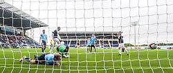 Falkirk's Rory Loy third goal past Dundee's keeper Kyle Letheren.<br /> Falkirk 3 v 1 Dundee, 21/9/2013.<br /> ©Michael Schofield.