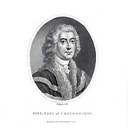 William Pitt, 1st Earl of Chatham, PC, FRS (15 November 1708 – 11 May 1778) was a British statesman of the Whig group who served as Prime Minister of Great Britain in the middle of the 18th century. Historians call him Pitt of Chatham, or William Pitt the Elder, to distinguish him from his son, William Pitt the Younger, who also was a prime minister. Pitt was also known as the Great Commoner, because of his long-standing refusal to accept a title until 1766. Copperplate engraving From the Encyclopaedia Londinensis or, Universal dictionary of arts, sciences, and literature; Volume XX;  Edited by Wilkes, John. Published in London in 1825