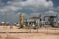 Hydraulic fracturing industry site in the Permian Basin in West Texas. The Permian Basin is in the northwestern part of Texas and the southeastern part of New Mexico.   Oil has been recovered for decades in the area. The fracking industry recently  revived production and the area is experiencing a new oil boom.