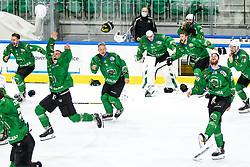 Players of HK SZ Olimpija celebrate winning the league during 3rd leg of ic hockey game between HK SZ Olimpija Ljubljana and Asiago Hockey in Final of Alps Hockey League 2020/21, on April 24, 2021 in Hala Tivoli, Ljubljana, Slovenia. Photo by Matic Klansek Velej / Sportida