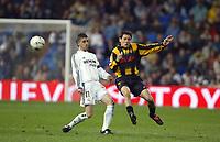 13/3/2004 Madrid, Spain.<br />La Liga, day 28.<br />R.Madrid 1 - Zaragoza 1<br />R.Madrid's Portillo in duel against Zaragoza's Cuartero at Santiago Bernabeu's Stadium.<br />© 2004 Alejandro leon Fernandez