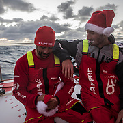 Leg 3, Cape Town to Melbourne, day 15, Willy Altadill and Louis Sinclair on board MAPFRE. Photo by Jen Edney/Volvo Ocean Race. 24 December, 2017.