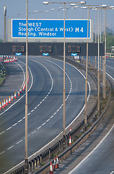 © Licensed to London News Pictures. 10/04/2020. Datchet, UK. The M4 at Junction 5 for Datchet in Berkshire empty at 8am on Good Friday, the start of the Easter Bank holiday, during a pandemic outbreak of the Coronavirus COVID-19 disease. The public have been told they can only leave their homes when absolutely essential, in an attempt to fight the spread of coronavirus COVID-19 disease. Photo credit: Ben Cawthra/LNP