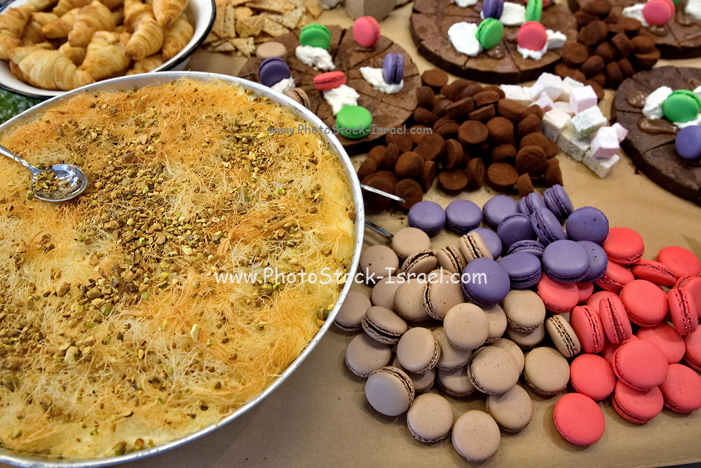 Middle eastern Baklava sweet pastries on a buffet table