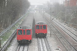 © Licensed to London News Pictures.18_01_2013 LONDON UK.London undergrounds  District Line trains running in Plaistow East London Photo credit : Andrew Baker/LNP