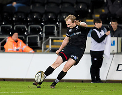Ospreys' Luke Price converts<br /> <br /> Photographer Simon King/Replay Images<br /> <br /> Anglo-Welsh Cup Round 4 - Ospreys v Bath Rugby - Friday 2nd February 2018 - Liberty Stadium - Swansea<br /> <br /> World Copyright © Replay Images . All rights reserved. info@replayimages.co.uk - http://replayimages.co.uk