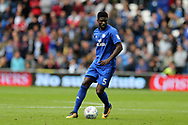 Bruno Ecuele Manga of Cardiff City in action. EFL Skybet championship match, Cardiff city v Derby County at the Cardiff city stadium in Cardiff, South Wales on Saturday 30th September 2017.<br /> pic by Andrew Orchard, Andrew Orchard sports photography.