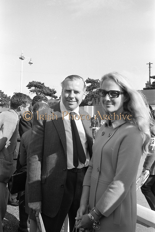 17th September 1968<br /> <br /> Film producer Kevin McClory and his wife Frederica Ann Sigrist pictured at a bloodstock sale at Goffs, County Kildare.
