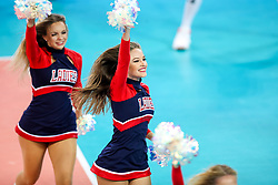 Cheerleaders Ladies dance team during volleyball match between National teams of Slovenia and Poland in semifinal of 2019 CEV Volleyball Men's European Championship in Ljubljana, on September 26, 2019 in Arena Stozice. Ljubljana, Slovenia. Photo by Matic Klansek Velej / Sportida