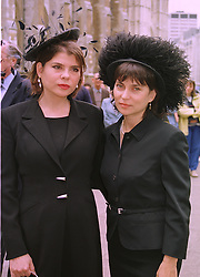Left to right, Guinness heiress's MISS IVANA LOWELL and her sister MRS JULIAN SANDS grand-daughters of Maureen, Marchioness of Dufferin & AVA, at a memorial service in London on 15th July 1998.MJC 29
