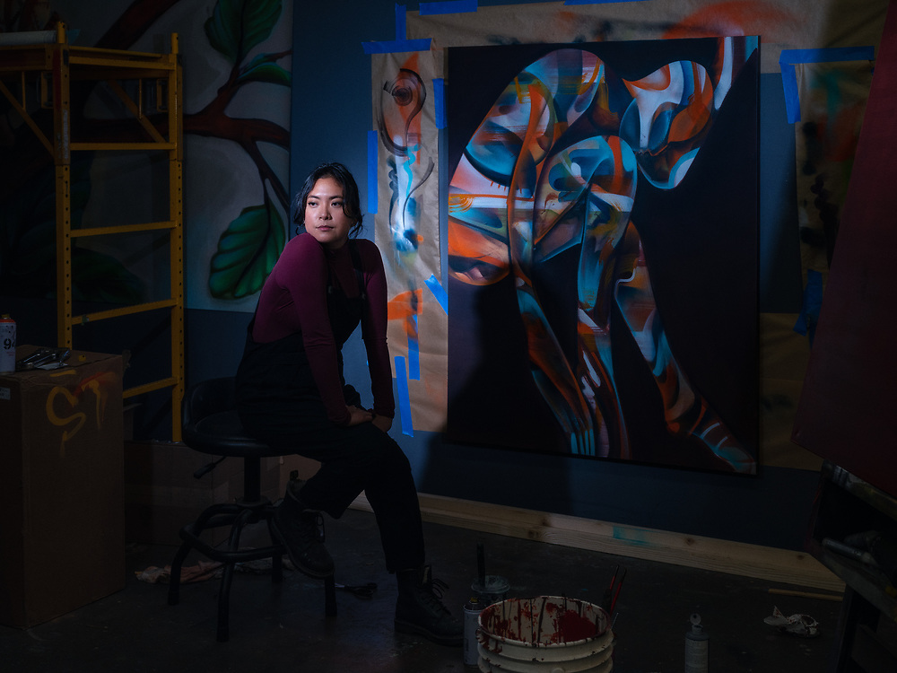 Franceska Gamez, artist & co-owner of 1810 Gallery. 14th Street, Sacramento.<br /> <br /> I am a muralist. I'm also a sculptor and installation artist. I also co-own the 1810 Gallery. We do our best to uplift, underrepresented, marginalized, and emerging artists. Murals are like my main bread and butter. I had seven or eight gigs canceled. Internally I was defeated. When the lockdown hit I was terrified. Physically and mentally I wasn't prepared.  Between the work cancellations, the fear of my family and for the world, it was really hard for me to get into things creatively. I don't ever want to live in a state of denial for happiness sake. I also don't want to get caught in the depressed state of living in the unknown. I still am trying to be super positive and hopeful that this too shall pass. You can't manifest it if you can't even visualize it.