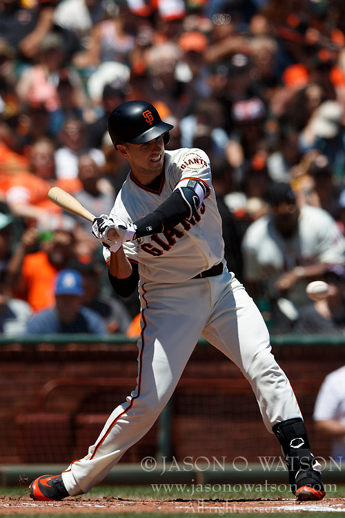 SAN FRANCISCO, CA - JULY 15: Buster Posey #28 of the San Francisco Giants at bat against the Oakland Athletics during the second inning at AT&T Park on July 15, 2018 in San Francisco, California. The Oakland Athletics defeated the San Francisco Giants 6-2. (Photo by Jason O. Watson/Getty Images) *** Local Caption *** Buster Posey