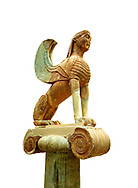 Large Sphinx of Naxos sitting on an Ionic column circa 560 B.C. Delphi Archaeological Museum. .<br /> <br /> If you prefer to buy from our ALAMY STOCK LIBRARY page at https://www.alamy.com/portfolio/paul-williams-funkystock/greco-roman-sculptures.html . Type -    Delphi     - into LOWER SEARCH WITHIN GALLERY box - Refine search by adding a subject, place, background colour, museum etc.<br /> <br /> Visit our ANCIENT GREEKS PHOTO COLLECTIONS for more photos to download or buy as wall art prints https://funkystock.photoshelter.com/gallery-collection/Ancient-Greeks-Art-Artefacts-Antiquities-Historic-Sites/C00004CnMmq_Xllw
