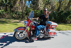 Warren Lane out for a ride on his 1964  Panhead during Daytona Bike Week. FL, USA. March 14, 2014.  Photography ©2014 Michael Lichter.