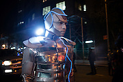 New York, NY - 31 October 2016. A man in a reflective space-age costume  in the Greenwich Village Halloween Parade.