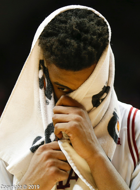 IU's Juwan Morgan (13) walks off the court after IU got beat by Ohio State in double overtime, Friday, February 23, 2018 at Assembly Hall in Bloomington, Ind.