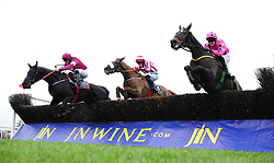 Delta Work ridden by Davy Russell (left) beats Niven ridden by Jamie Moore to win the Porter & Co Beginners Chase during day one of the Down Royal Festival.