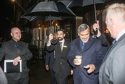 George Clooney leaves the George Hotel in Edinburgh this morning to catch hie 8 o'clock flight.,