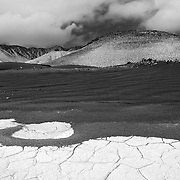 Cinder Cone And Dried Pond - Fossil Falls, CA - Black & White