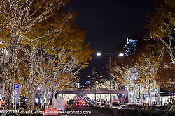 The Christmas lights of the Harajuku shopping district before the 2017 Mooneyes Show. Tokyo, Japan. Friday December 1, 2017. Photography ©2017 Michael Lichter.