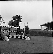 "06/08/1960<br /> 08/06/1960<br /> 06 August 1960<br /> R.D.S Horse Show Dublin (Saturday). Seamus Hayes on ""Kilrush""."