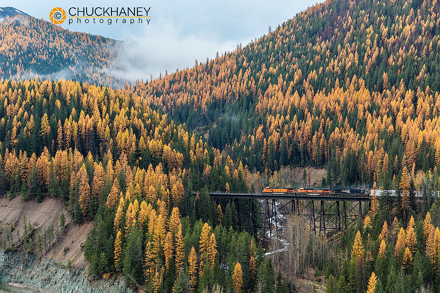 Freight train crossing the Sheep Creek Trestle in fall in the Flathead National Forest, Montana, USA