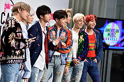 BTS poses in the press room during the 2017 American Music Awards at Microsoft Theater on November 19, 2017 in Los Angeles, California. Photo by Lionel Hahn/AbacaPress.com