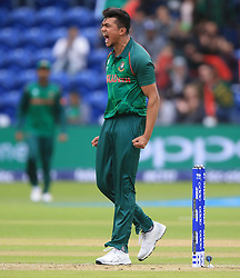 Bangladesh's Taskin Ahmed celebrates after taking the wicket of New Zealand's Luke Ronchi during the ICC Champions Trophy, Group A match at Sophia Gardens, Cardiff.