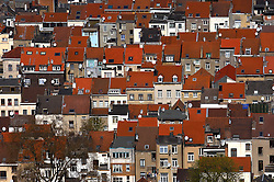 Brussels cityscape and skyline showing rows and rows of red roofed houses in Brussels. (Photo © Jock Fistick)