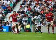 Wales' Hallam Amos makes break during the The Old Mutual Wealth Cup match England -V- Wales at Twickenham Stadium, London, Greater London, England on Sunday, May 29, 2016. (Steve Flynn/Image of Sport)